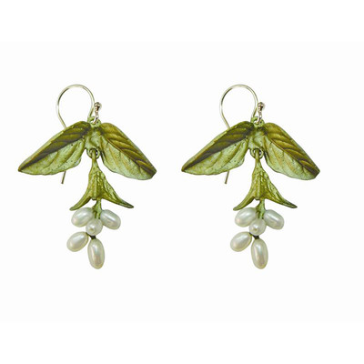 "Sweet Basil Pearl ""Drop Wire"" Fishhook Earrings"
