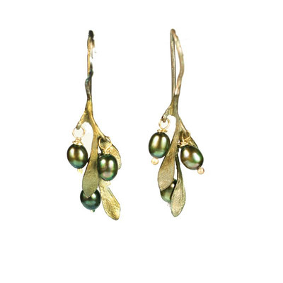 "Olive Fishhook ""Drop"" Earrings with Pearl"