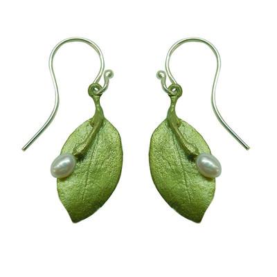 Myrtle Single Leaf Fishhook Earrings