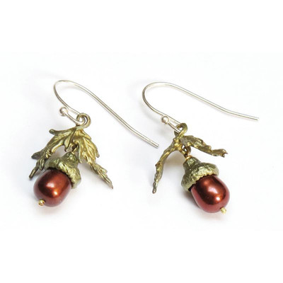 Acorn Pearl Fishhook Earrings
