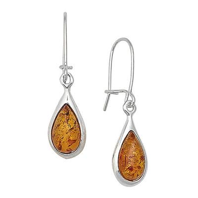 Cognac Amber Teardrop Earrings
