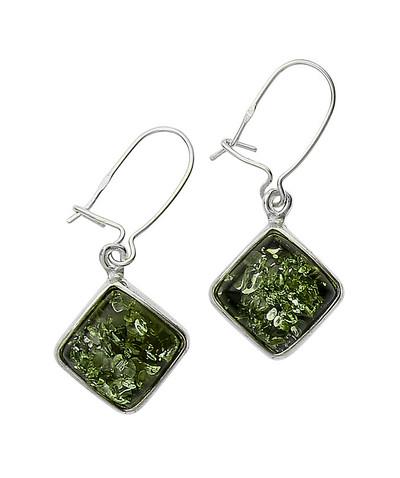 Diamond-Shaped Earrings in Green Amber