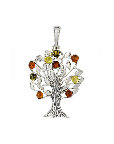 Tree of Life Pendant with Honey, Citrine, and Cherry Amber