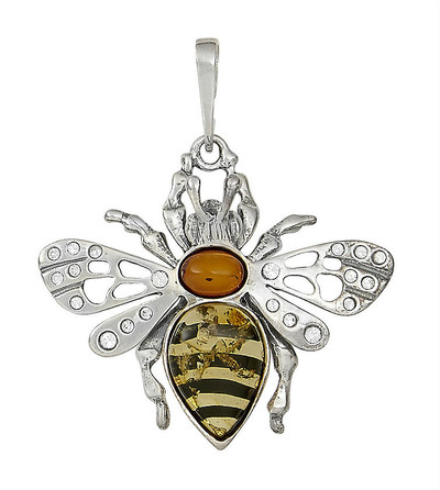 Bumblebee Pendant in Honey Amber