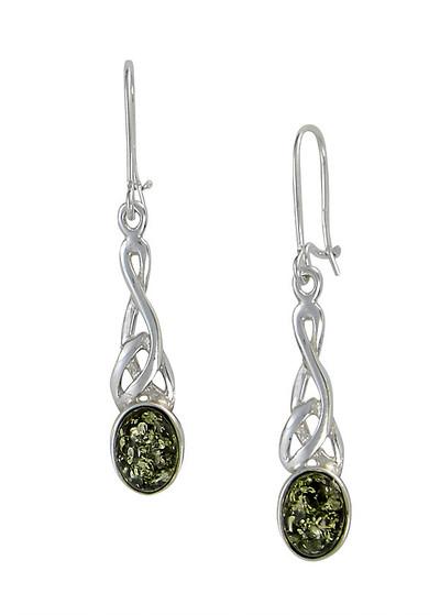 Celtic Wire Earrings in Green Amber
