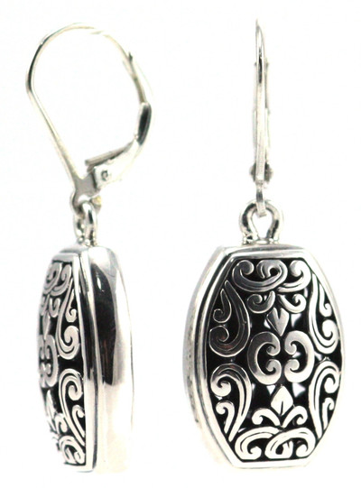 Weda Filigree Barrel Drop Earrings