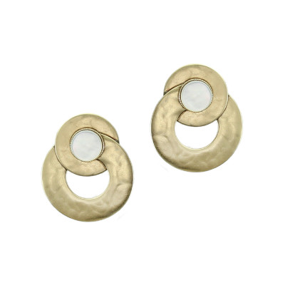 Gold Tone Circles with Mother of Pearl Clip-On Earring