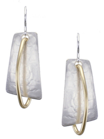 Two-Tone Loop and Shield Earring