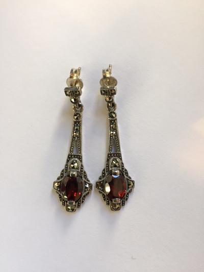 Marcasite Oval Garnet Post Dangle Earring