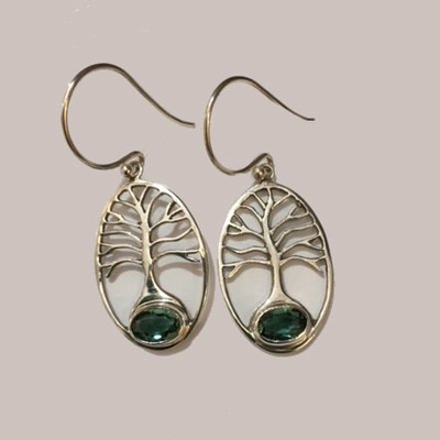 Tree of Life Sterling Silver Fishhook Earrings with Green quartz