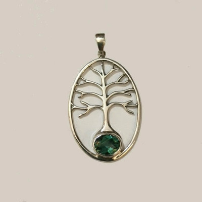 Tree  of Life Sterling Silver and Green Quartz Necklace
