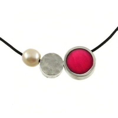 3-Mini Pce. Pearl Pendant on Cord, Reversible Magenta/Bright Violet Necklace