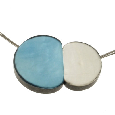 """Ocean Wave/White"" Small Pebbles Magnetic Front Lock Pendant"