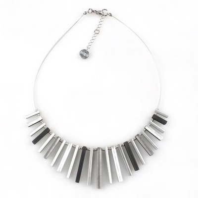 """Black/White"" Square Sticks Necklace"
