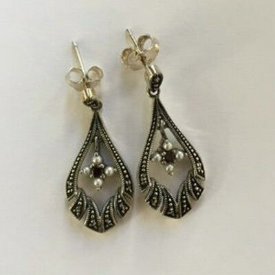 Marcasite Garnet & Cultured Pearl Post Earrings