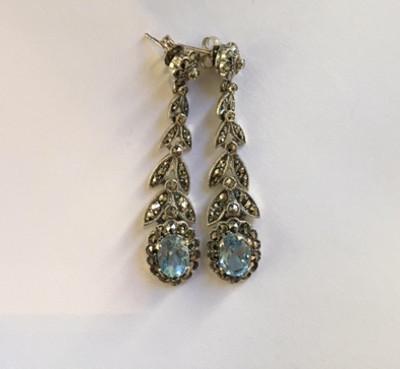 Blue Topaz Marcasite Post Earrings