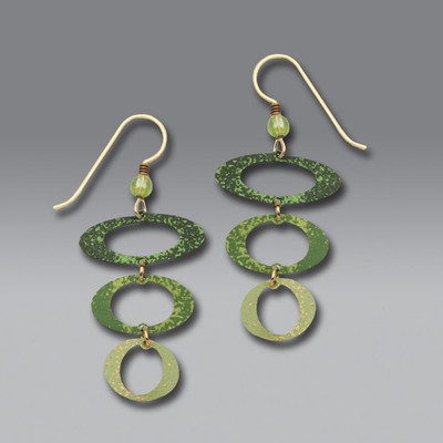 Three-Part Green Open Ovals French Hook Earrings