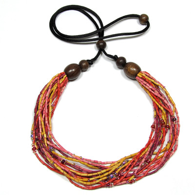 handmade zulugrass african bead necklace in cheka