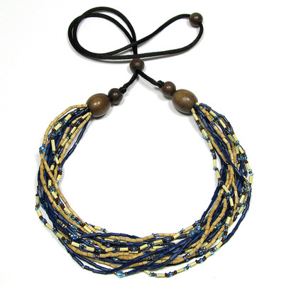 handmade zulugrass african bead necklace in sky