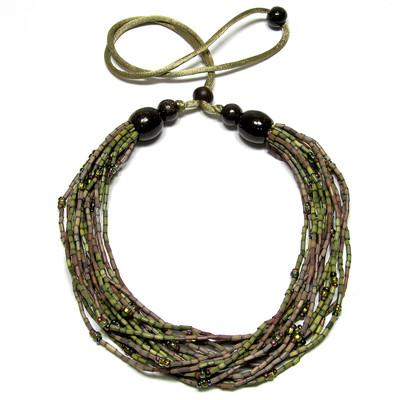 handmade zulugrass african bead necklace in lady sunbird