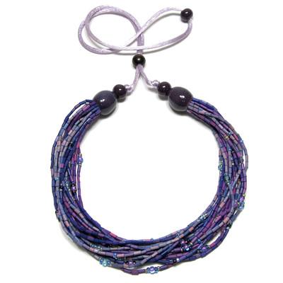 handmade zulugrass african bead necklace in hydrangea