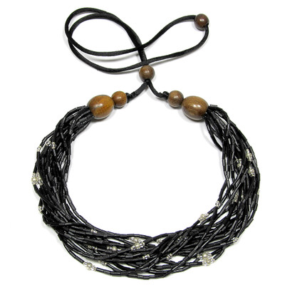 handmade zulugrass african bead necklace in black