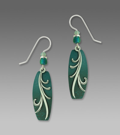 Teal and Turquoise Puffed Column French Hook Earrings with Silver Sage Tendrils