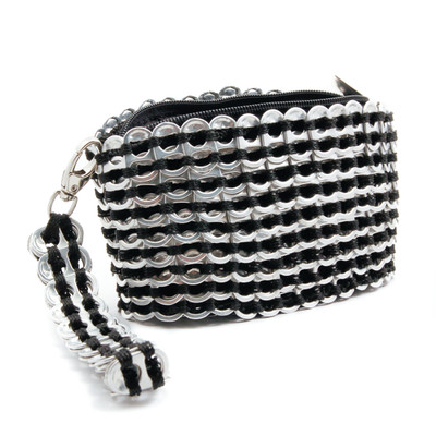 soda tab purse clutch bag with wide bottom in black