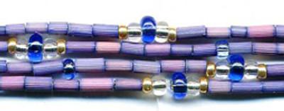 "26"" Handmade African Bead Jewelry Strand in Denim"