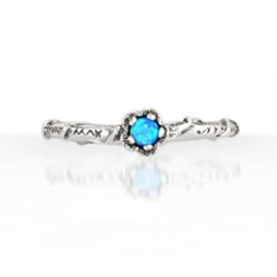 Silver Ring with Opal, 3 mm