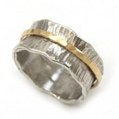Silver Spinning Ring with Gold-filled band