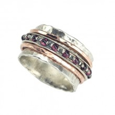 Silver Spinning Ring with Gold-filled bands and Garnet