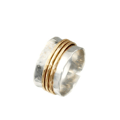 Silver Spinning Ring with 3 Goldfilled bands