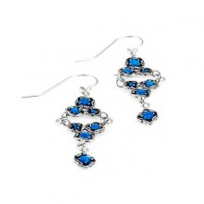 Israeli Jewelry Silver Earrings With Opals, 4 mm, 3 mm, 2 mm.