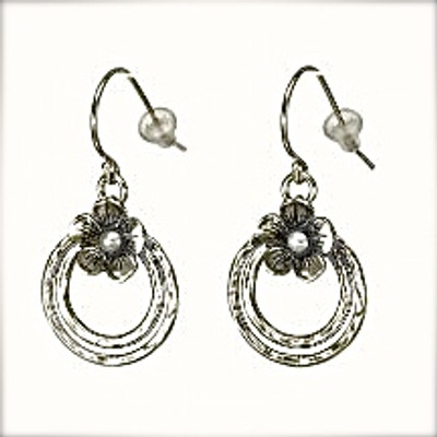 Silver Earrings with Pearls, 3 mm.