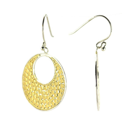 Gold Crescent Loop Earrings with Fishhook
