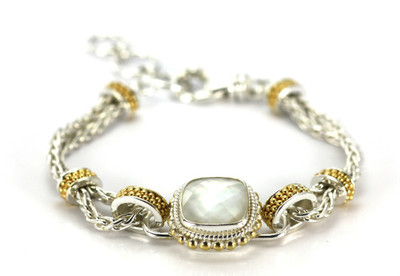Padma Beaded Mother of Pearl Woven Bracelet in Silver & Gold
