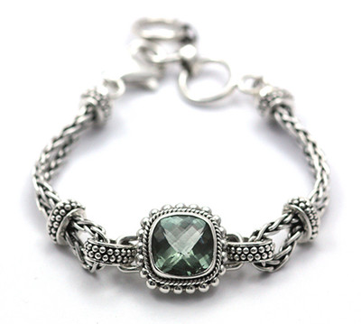 Sterling Silver Bracelet with Green Amethyst Stone.  Available with matching ring (JR.0014) and pendant (JP.0002)