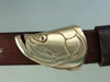 The tarpon buckle in bronze with the natural finish close up view on the casual strap cowhide belt