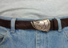 The tarpon buckle in bronze with the brownl finish on the casual strap cowhide belt