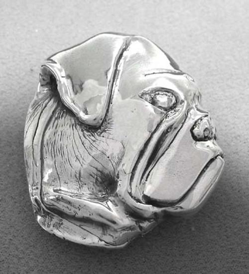 Bull Dog Belt Buckle in Sterling Silver