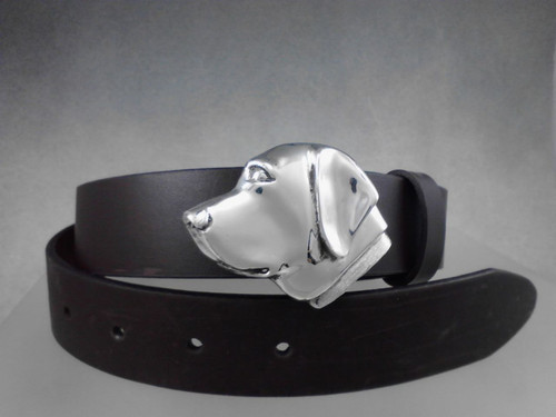 Labrador retriever belt buckle in sterling silver on 1 1/4 belt