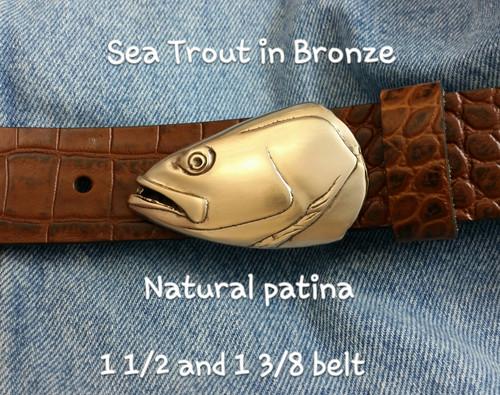Seatrout Fish Belt Buckle in Bronze
