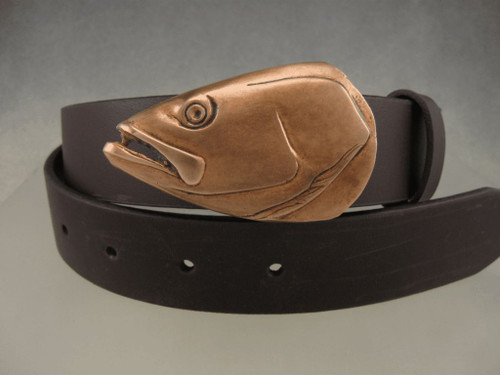 Sea trout portrait buckle in bronze. Shown with the brown patina on 1.25 belt sold separately