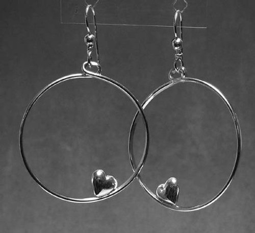 Heart Earrings with Hearts Sleeping on Hoops in Sterling Silver