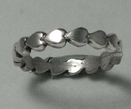 Heart Ring with Repeating Hearts Band in Sterling Silver