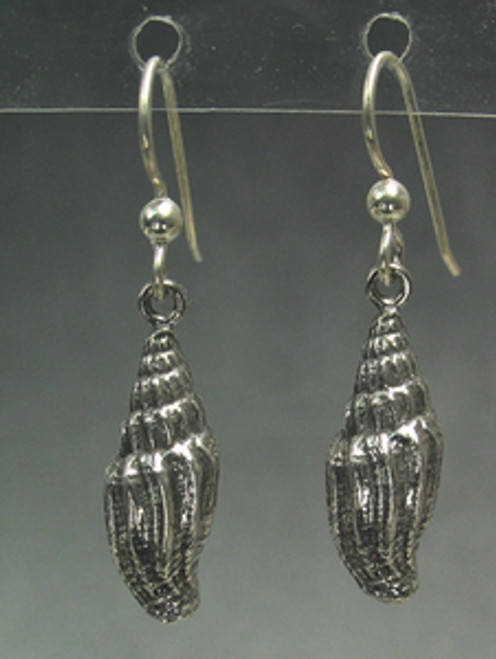 Miter Sea Shell Drop Dangle Beachomber Earrings in Sterling Silver