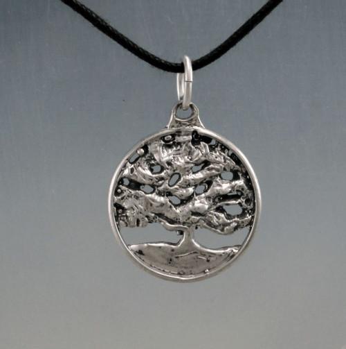 Round Live oak tree pendant on cotton cord