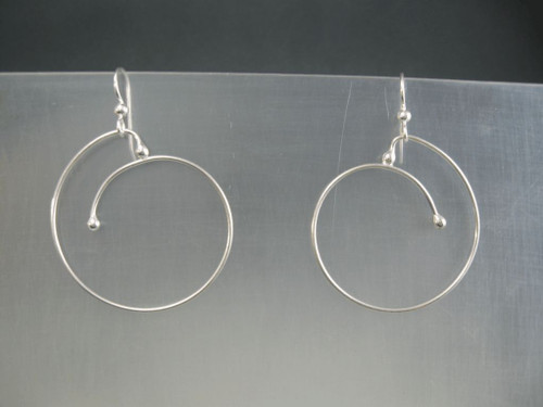 Sliding Spiral Crashing Waves Hoop Earrings with 40mm in Sterling Silver