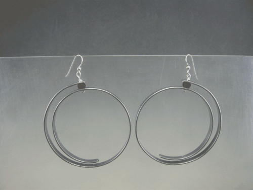 Suburban Tribal Hoop Earrings with Spiral and Bead